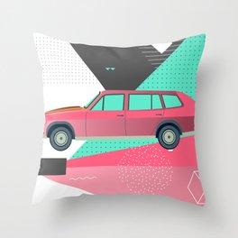 Retro Pink 80s Station Wagon Throw Pillow