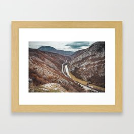 Beautiful picture of the canyon in Serbia, with river and the highway in the middle Framed Art Print