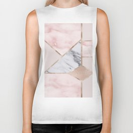 Geometric mix up - rose gold Biker Tank