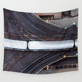Chicago El Train Going Downtown Wall Tapestry