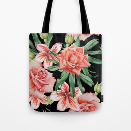 Roses on Black. Watercolor illustration. Hand drawn. Tote Bag