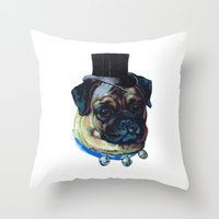 pugs Throw Pillows featuring Sir Pugs by Bonnie J. Breedlove