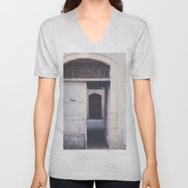 Cottage Doors in Bayeux Unisex V-Neck