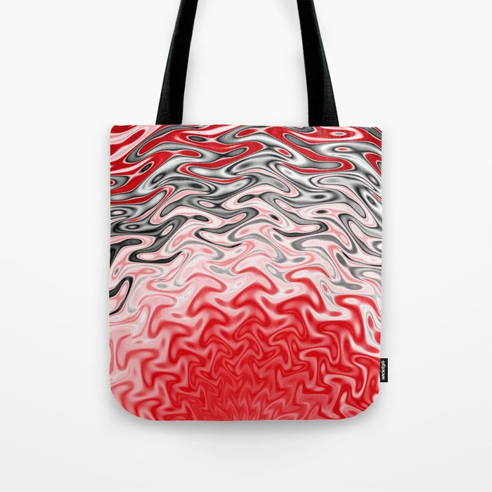 Fractal Rise in Red Black and White Tote Bag