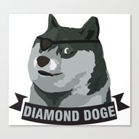 doge Canvas Prints featuring DIAMOND DOGE by MDRMDRMDR