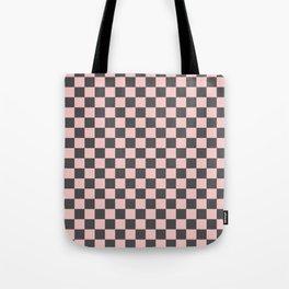 Gingham Millennial Pink Blush Rose Quartz Coco Brown Neapolitan Checked Tote Bag