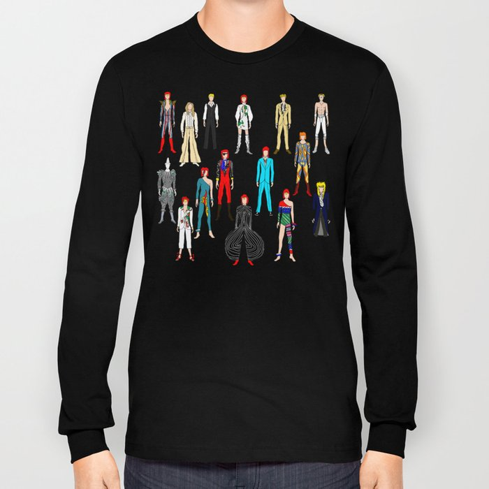 Heroes Scattered Pattern Black Long Sleeve T-shirt