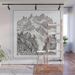 BEYOND MOUNT SHUKSAN BLACK AND WHITE VINTAGE PEN DRAWING Wall Mural