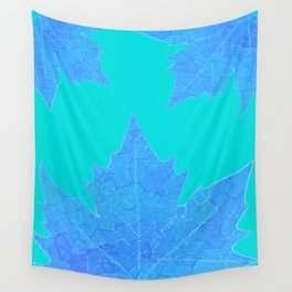 Sycamore Stained Glass Tiffany style design Ice leaf on turquoise Wall Tapestry