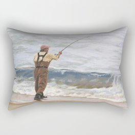 Just One More Cast Rectangular Pillow
