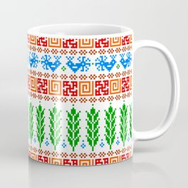 Abundance Force - Spiritual Strength - Bird - Sprouts - Slavic Pagan Symbol - Folk Ornament Pattern Coffee Mug