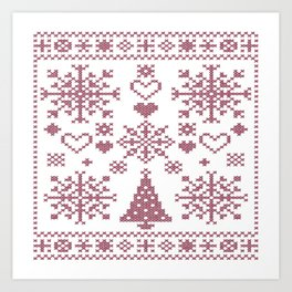 Christmas Cross Stitch Embroidery Sampler Pink And White Art Print