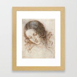 Leonardo da Vinci - Head of Leda Framed Art Print