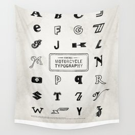 Vintage Motorcycle Typography Wall Tapestry