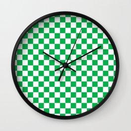 Green Checkerboard Pattern Wall Clock