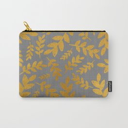 Gray Gold Foil Leaves  Carry-All Pouch