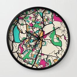 Colorful City Maps: Jerusalem, Israel Wall Clock