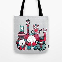Doodle Animal Friends Pink & Grey Tote Bag