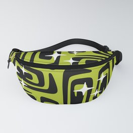 Mid Century Modern Cosmic Galaxies 435 Black and Chartreuse Green Fanny Pack