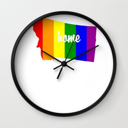 Montana-Map-Rainbow-Pride-Gifts Wall Clock