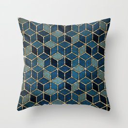Shades Of Turquoise Green & Blue Cubes Pattern Throw Pillow