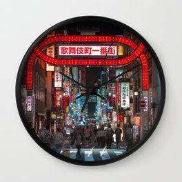 Shinjuku Night Walks Wall Clock