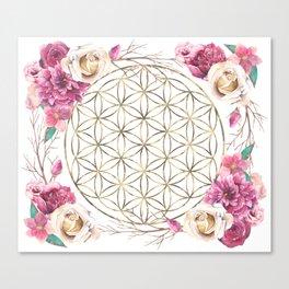 Flower of Life Rose Garden Gold Canvas Print