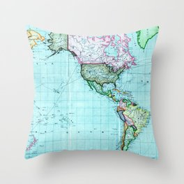 Turquoise Map Pattern Throw Pillow