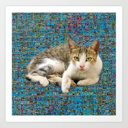 Cute cat on abstract background Art Print