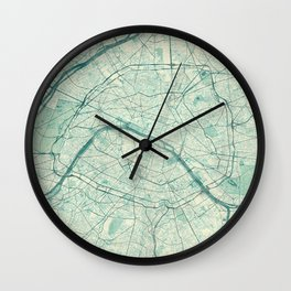 Paris Map Blue Vintage Wall Clock