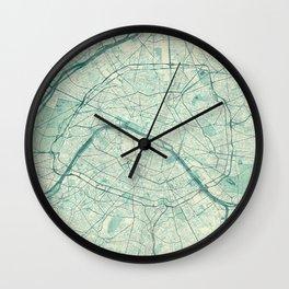 Paris Map Blue Vintage Wall Clock