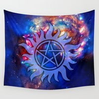 pentagram Wall Tapestries featuring Supernatural Cosmos by Spooky Dooky