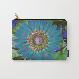 Pretty Blue Sunflower Carry-All Pouch
