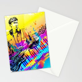 Musician guitar player. Jazz rock music festival concert Stationery Cards