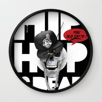 hiphop Wall Clocks featuring HipHop is Dead... by Frankie White