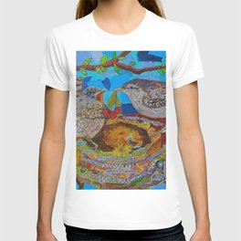Two Birds In Colorful Nest With Quotes About Wrens T-shirt