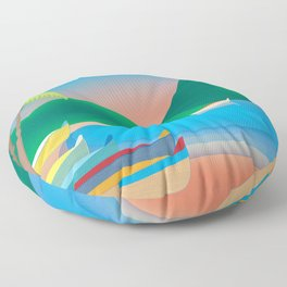 St. Lucia - Skyline Illustration by Loose Petals Floor Pillow