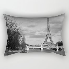 Eiffel Tower Black & White Rectangular Pillow