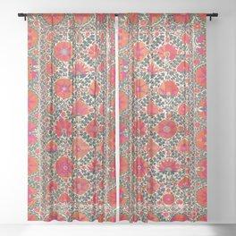 Kermina Suzani Uzbekistan Colorful Embroidery Print Sheer Curtain