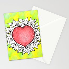 Watercolor Doodle Art | Heart Stationery Cards