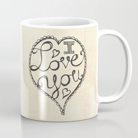 onesie Mugs featuring I Love You Sketch by Heather Dutton