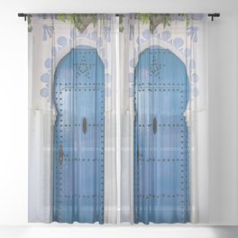 Blue Arch Door in Chefchaouen city Sheer Curtain