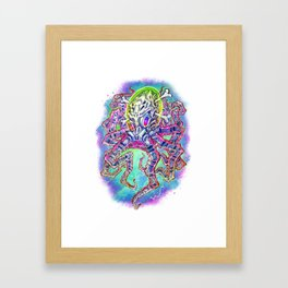 Skeleton Octopus Alien Framed Art Print