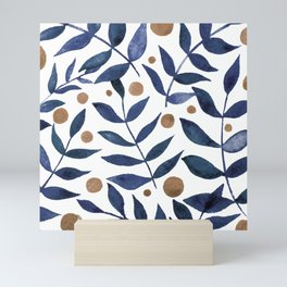 Watercolor berries and branches - indigo and beige Mini Art Print