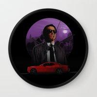 nightcrawler Wall Clocks featuring Nightcrawler by Ash Reynolds