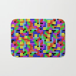 Tetris Inspired Retro Gaming Colourful Squares Bath Mat