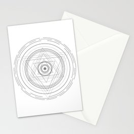 Black and white sacred geometry circle Stationery Cards