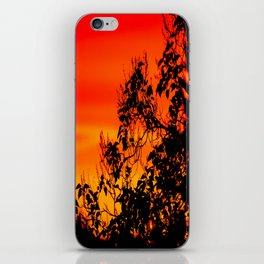 Silhouette of leaf with red autumn sky #decor #society6 iPhone Skin