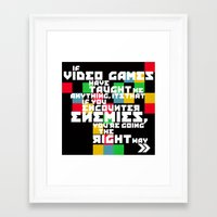 video games Framed Art Prints featuring Video Games by Divya Tak