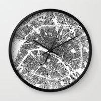 paris Wall Clocks featuring PARIS by Maps Factory